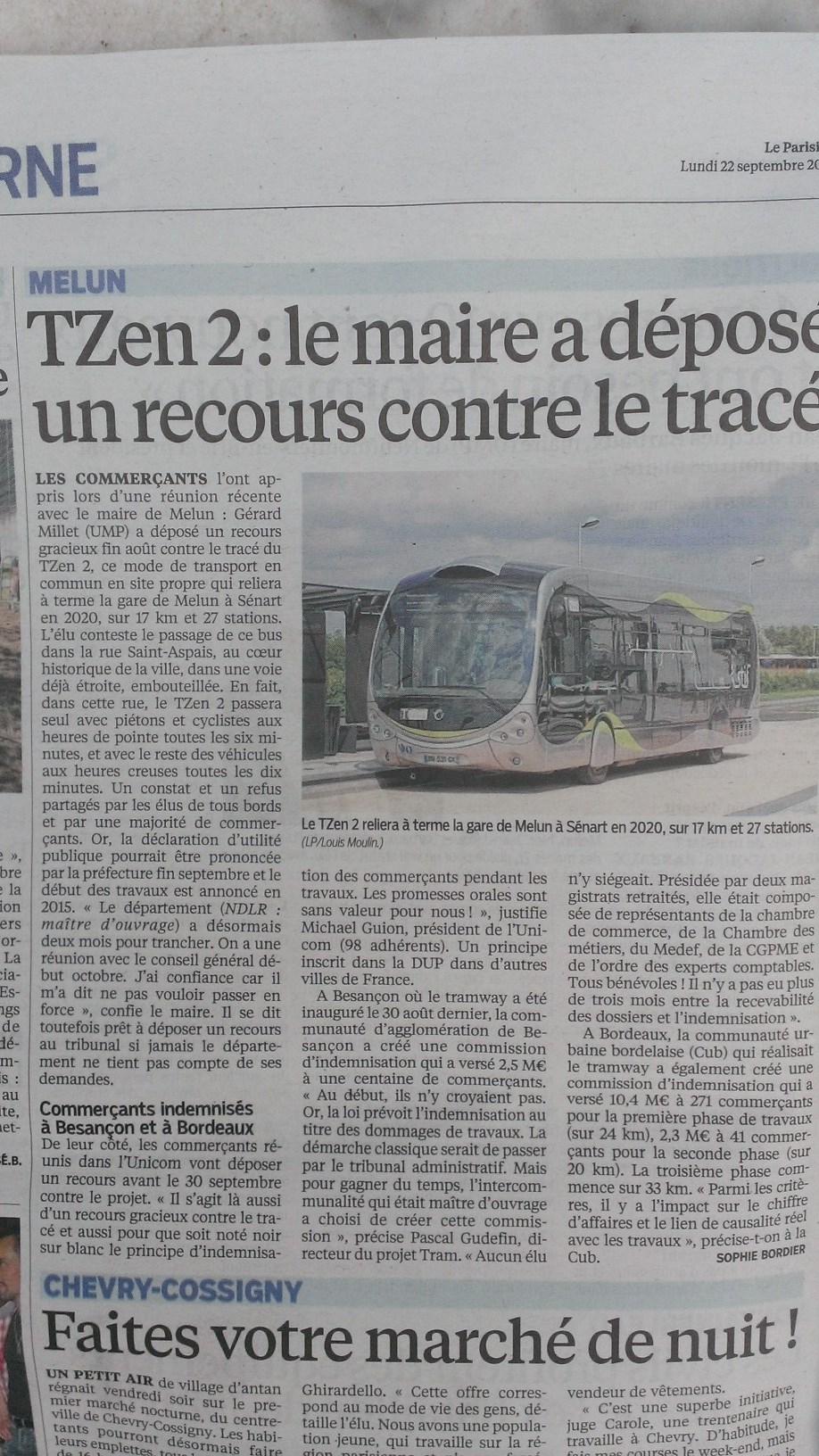 Tzen 2 : le maire a déposé un recours contre le tracé Melun