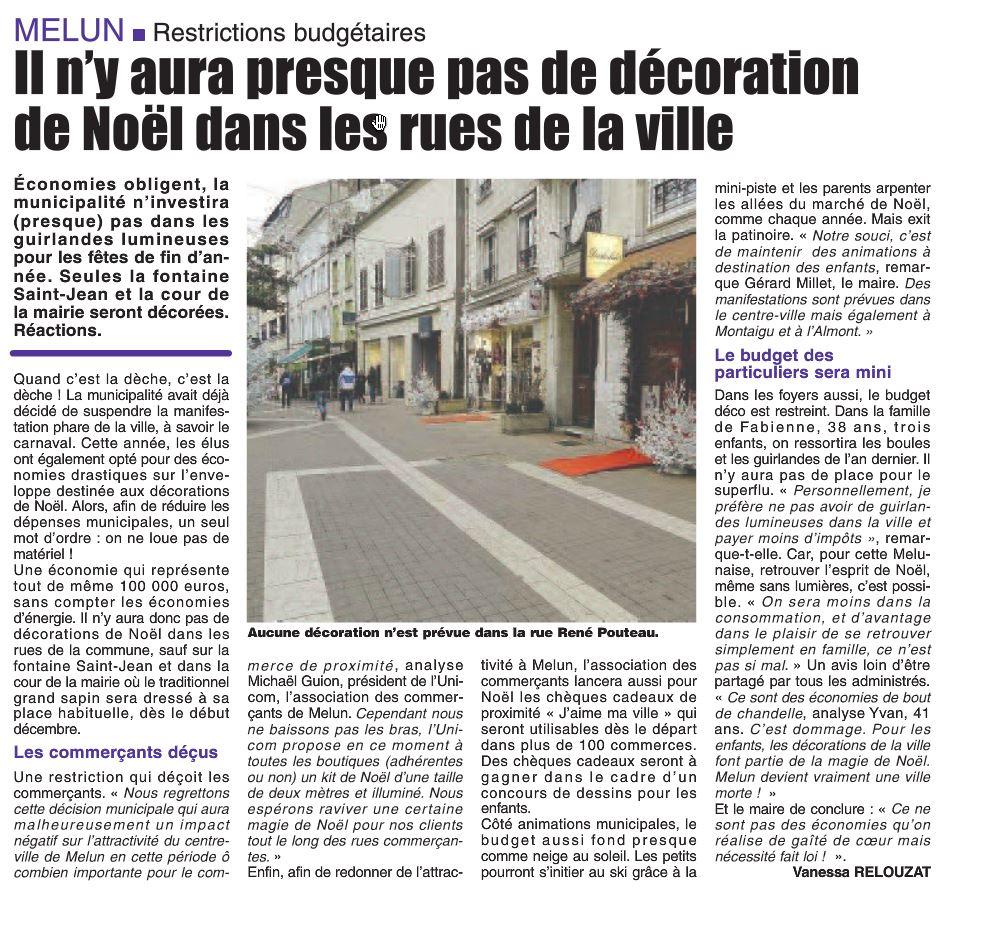 La République de Seine et Marne - 17/11/2014 il n'y aura presque pas de décorations de Noël dans les rue de la Ville