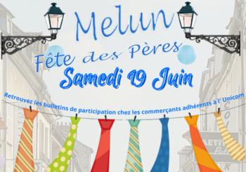 Affiche fête des pères 2021 bleu cravate UNICOM Melun association des commerçants et artisans de Melun