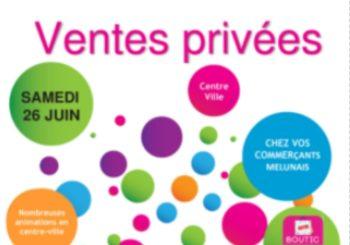 Affiche UNICOM Melun association des commerçants et artisans ventes privées des commerçants affiche blanche avec des ronds verts roses violets bleus et sac shopping
