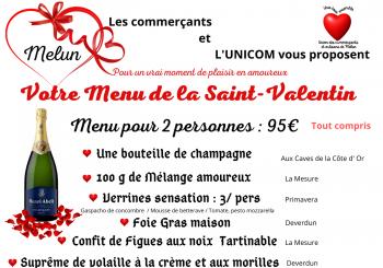 Le Menu de la Saint Valentin organisé par les commerçants